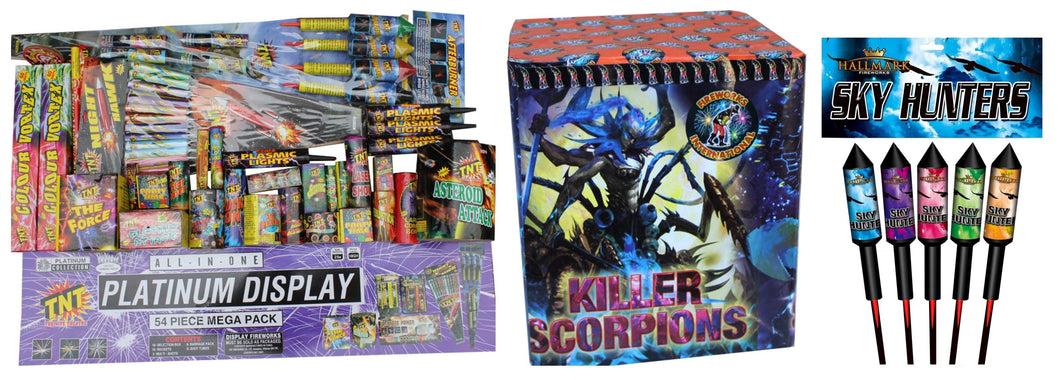 Platinum Display Kit + FREE pack of 1.3G Rockets + FREE 25shot Barrage (IN STORE ONLY)
