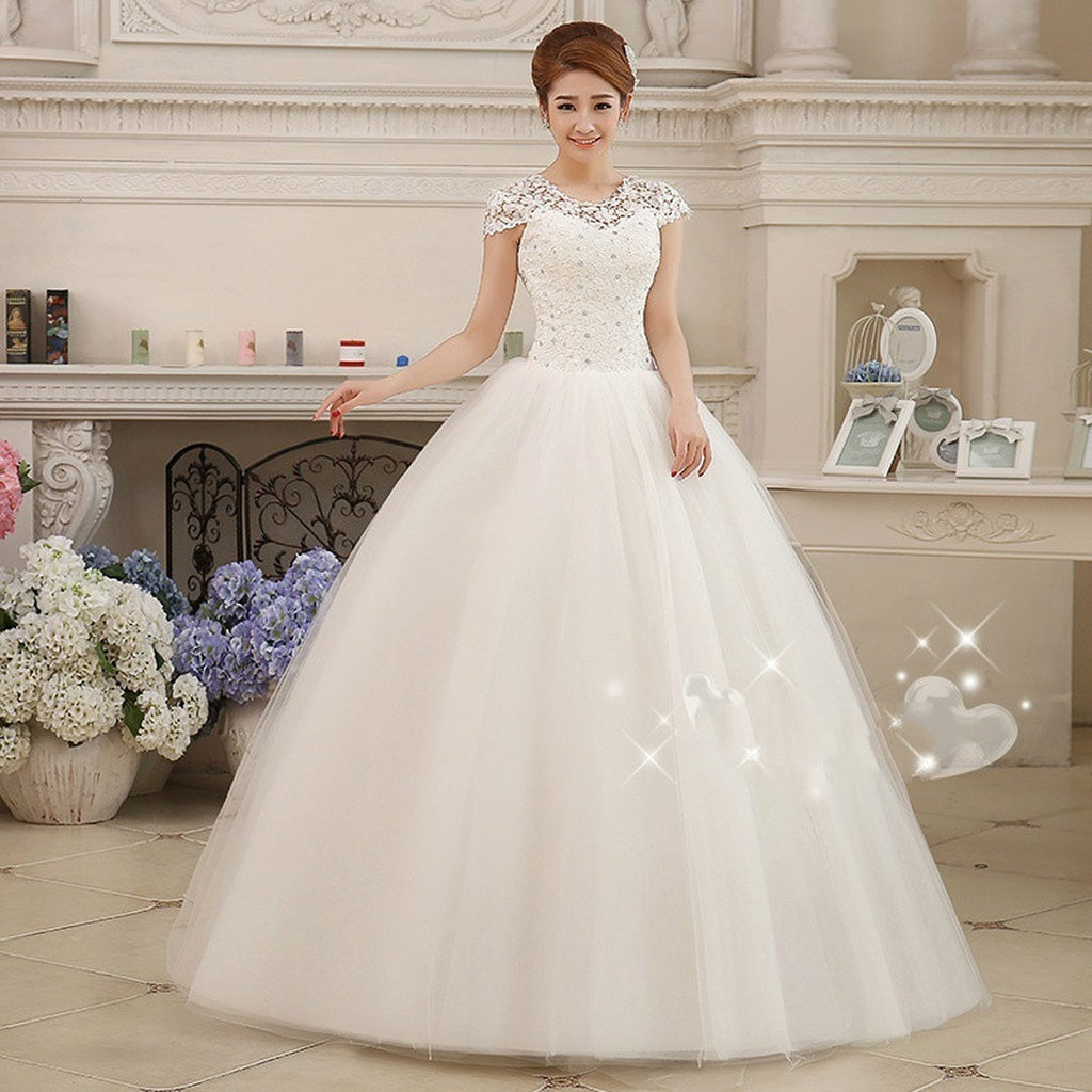 Wedding Dress Ball Gown Bridal Gown Floor-Length Short Sleeves ...