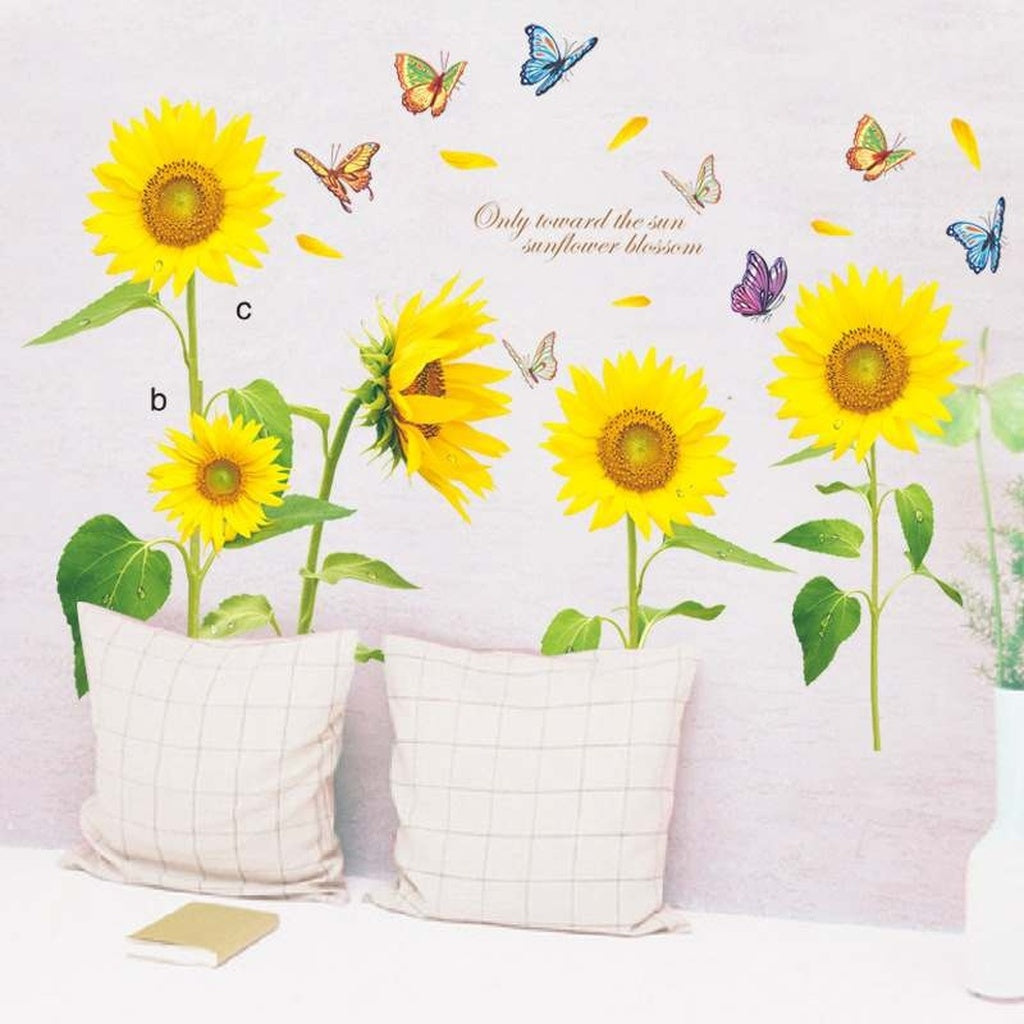 DIY Beautiful Sunflower Flying Butterfly Vinyl Art Home Decoration ...