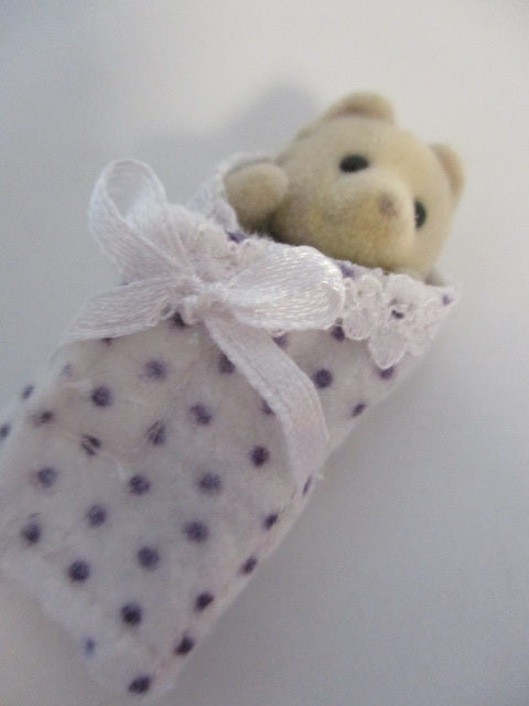 Baby Cuddle Wraps White Purple Spots