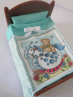 Double Bedspread Teddy Bear And Rocking Horse Teal Green