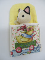 Sylvanian sleeping bag yellow with cute picture of a duck on the front.Will fit Mother and Sister Sylvanian figurines.