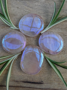 Rose Quartz Rainbow Aura palm stone - Nature's Magick