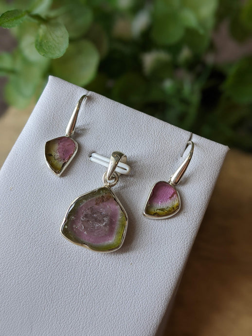 Watermelon Tourmaline set - pendant and earrings - Nature's Magick