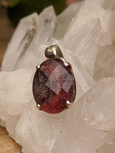 Lepidocrocite in quartz faceted small oval pendant - Nature's Magick