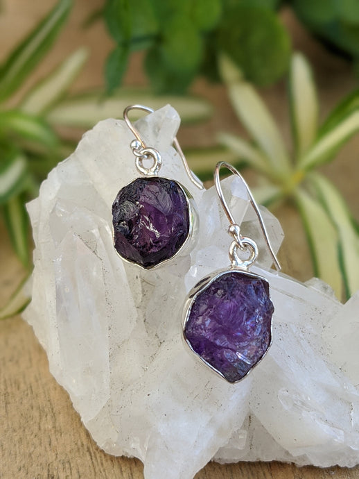 Amethyst raw crystal earrings