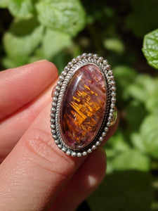 Cacoxenite in amethyst ring s.7.5 adjustable