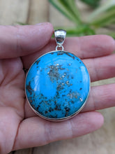 Persian Turquoise with Pyrite matrix round pendant 35g