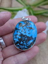 Persian Turquoise with Pyrite matrix oval pendant 38g