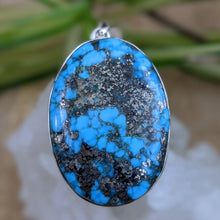 Persian Turquoise with Pyrite matrix oval pendant 23g