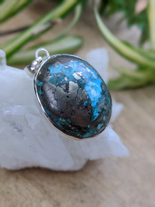 Persian Turquoise with Pyrite matrix oval pendant 21g