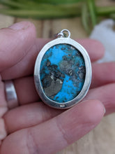 Persian Turquoise with Pyrite matrix oval pendant 21g - Nature's Magick