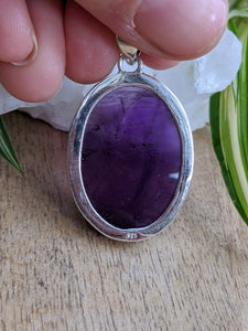 Amethyst oval cabochon pendant 12g - Nature's Magick