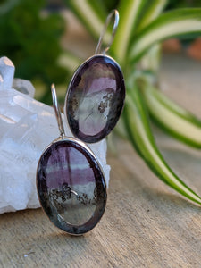 Fluorite oval matching cabochon earrings