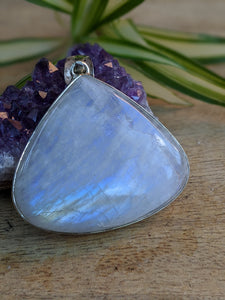 Moonstone large triangle teardrop pendant 28g