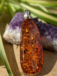 Genuine Baltic Honey Amber silver long oval pendant 13g - Nature's Magick