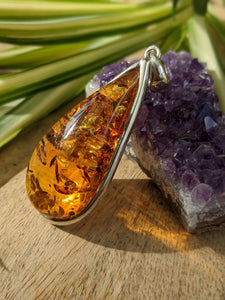 Genuine Baltic Honey Amber drop pendant