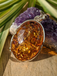 Genuine Baltic Honey Amber drop pendant 13g