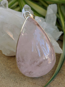 Rose Quartz teardrop cabochon pendant 21g - Nature's Magick