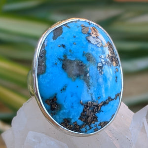Persian Turquoise with Pyrite matrix oval ring s.8 - Nature's Magick