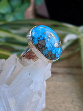 Persian Turquoise with Pyrite matrix oval ring s.7