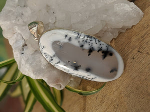 Dendritic Opal large oval pendant 18g