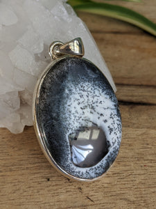 Dendritic Opal oval pendant - Nature's Magick