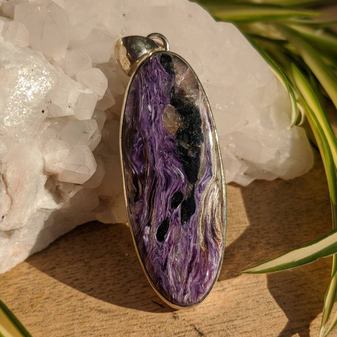 Charoite long oval pendant 16g - Nature's Magick