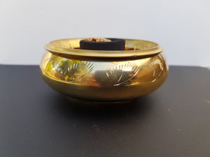 Brass Charcoal Burner with etching - Nature's Magick
