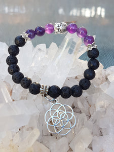 Handmade Aromatherapy and Crystal Healing bracelet infused with Reiki