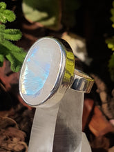 Moonstone faceted oval ring  s.6