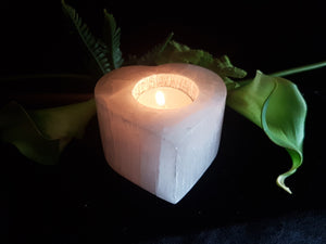 Selenite Heart Tea-light Holder