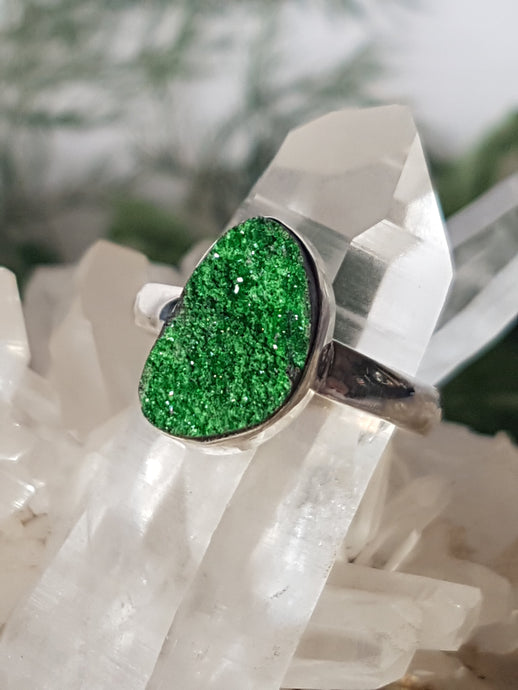 Uvarovite Green Garnet ring s.8.5