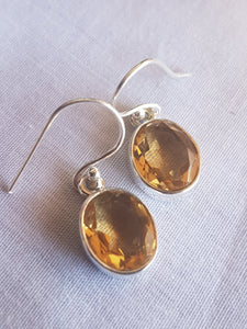 Citrine faceted oval earrings