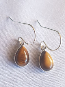Tiger's Eye cabochon teardrop earrings