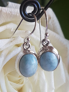 Larimar cabochon small oval earrings