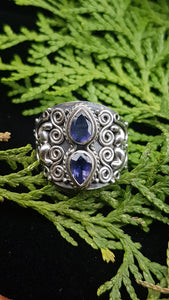 Iolite detailed silver ring s.7