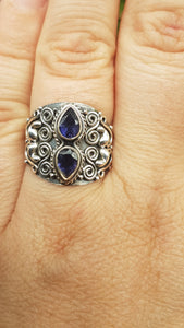 Iolite detailed silver ring s.7 - Nature's Magick