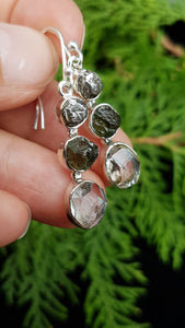 Herkimer, Moldavite & meteorite earrings