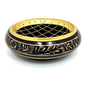 Brass Charcoal Burner with etching - black