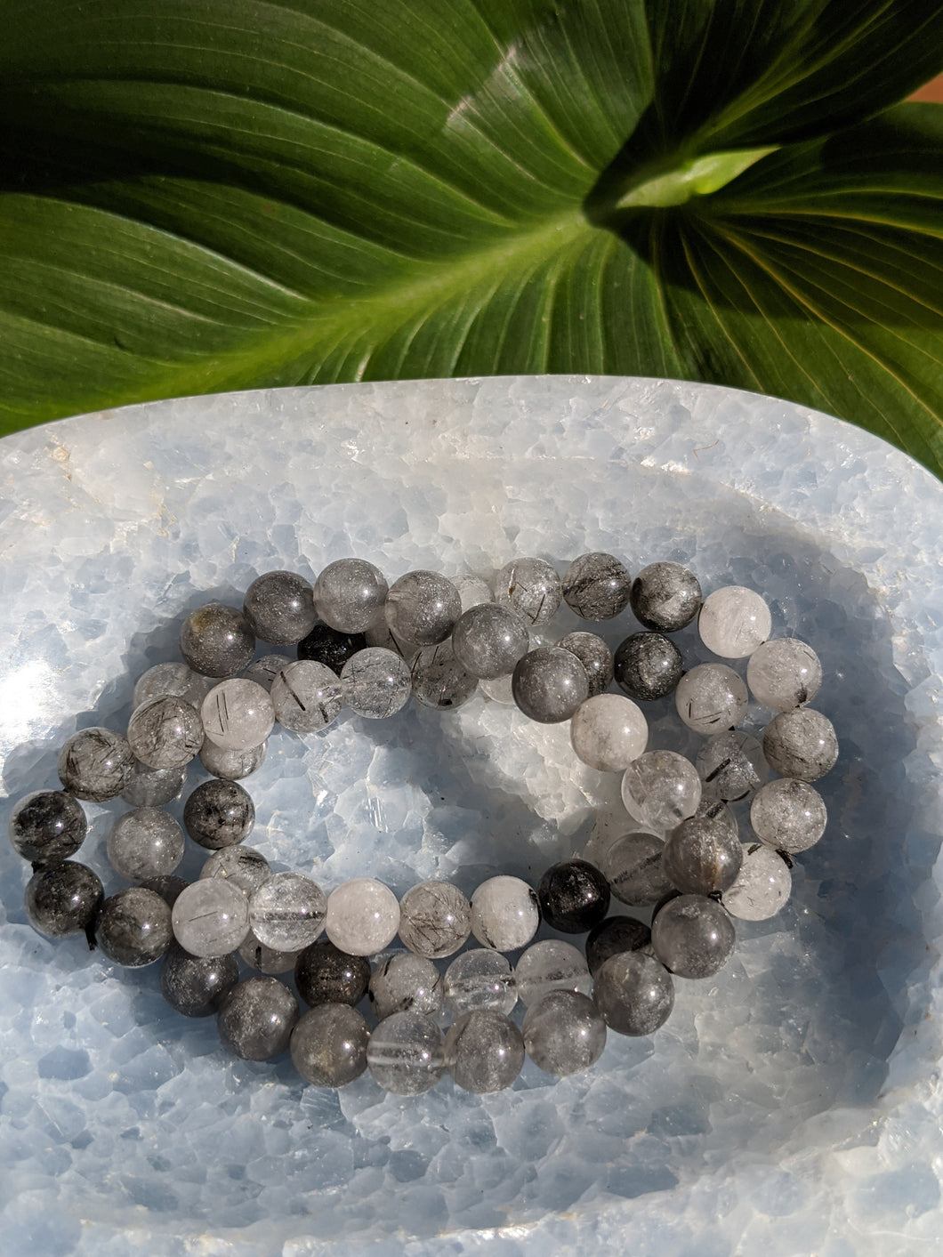 Black Tourmaline in quartz bracelet