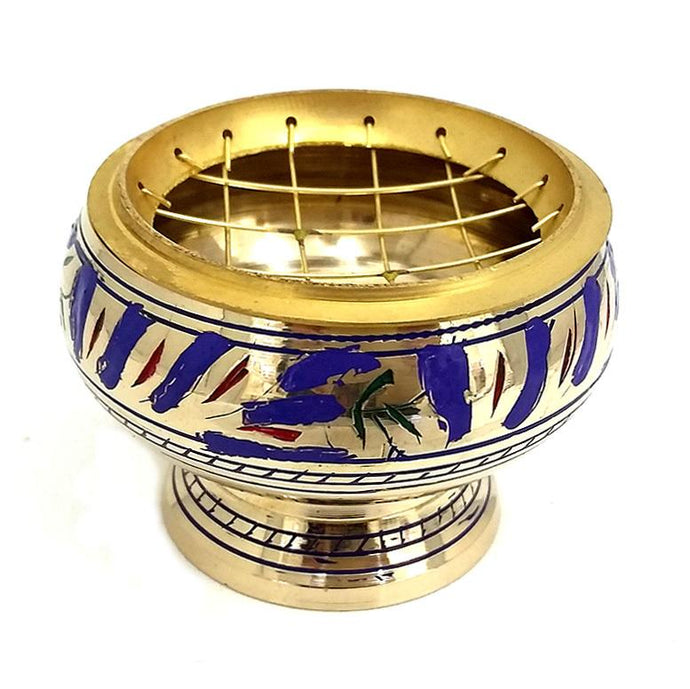 Brass Charcoal Burner with etching - blue