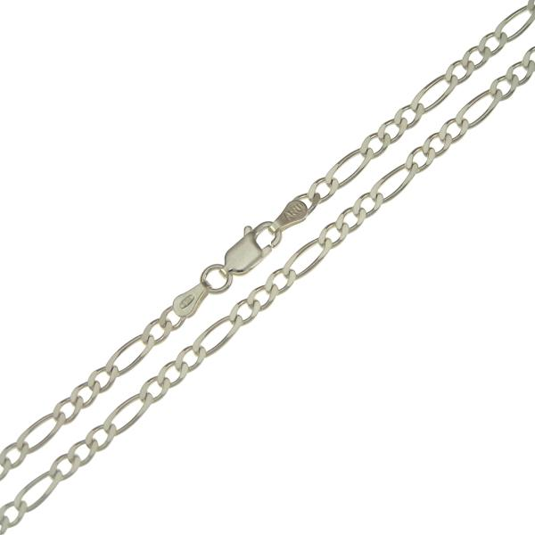 .935 Sterling Silver Figaro Chain 5mm