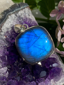 Labradorite Rounded Square Cabochon Pendant 13g