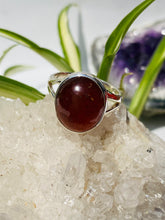 Hessonite Garnet cabochon oval ring s.8 KRGJ853
