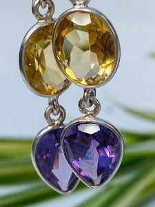 Citrine and Amethyst faceted Earrings KEGJ493