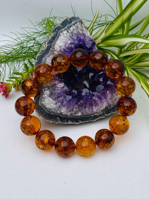 Genuine Baltic Amber - Honey round beaded bracelet AMB49