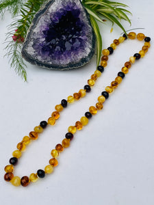Baltic Amber - Mixed Colour necklace 8mm bead - 46cm AMB04