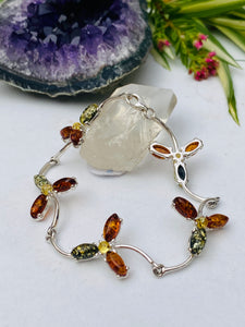 Genuine Baltic Amber Mixed Colour Flower bracelet AMB47