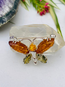 Genuine Baltic Amber butterfly brooch AMB57